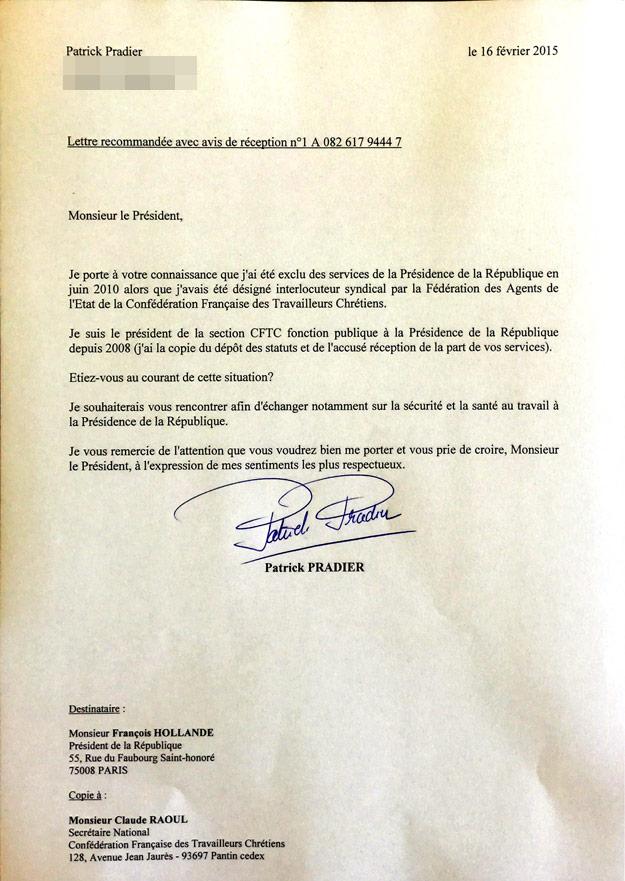 Lettre de Patrick Pradier au président de la République